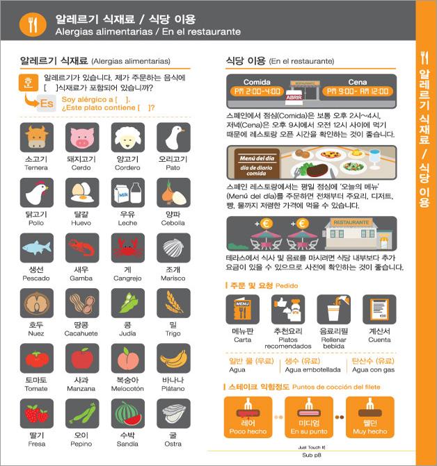 10. 알레르기 식재료 / 식당 이용, 자세한 내용은 하단링크의  TOUCH IT PAPER 스페인어 PDF 파일을 참조하시기 바랍니다.