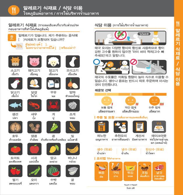10. 알레르기 식재료 / 식당 이용, 자세한 내용은 하단링크의  TOUCH IT PAPER 태국 PDF 파일을 참조하시기 바랍니다.