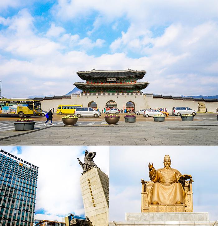 圖片) 光化門廣場全景(上圖) / 李舜臣將軍像(左下圖)和世宗大王銅像(右下圖)