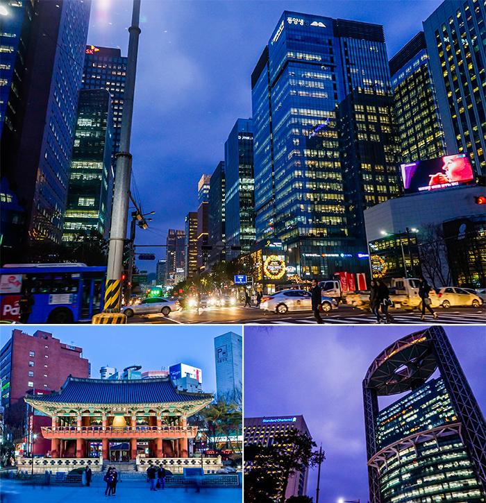 圖片) 鍾路的夜景(上圖),普信閣鐘(左下圖),鍾路塔(右下圖)