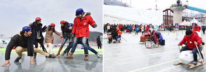 Visitors enjoying various ice activities