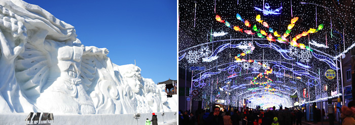 Snow Fortress (left) / Seondeung Street at night (right)