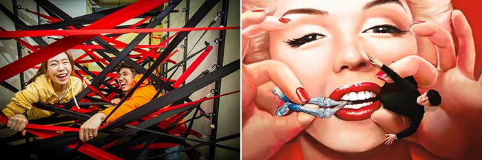 圖片) 「逃出一線天」任務(左圖) / 愛來魔相4D藝術館內的作品(右圖) (圖片來源:Creative Tong)