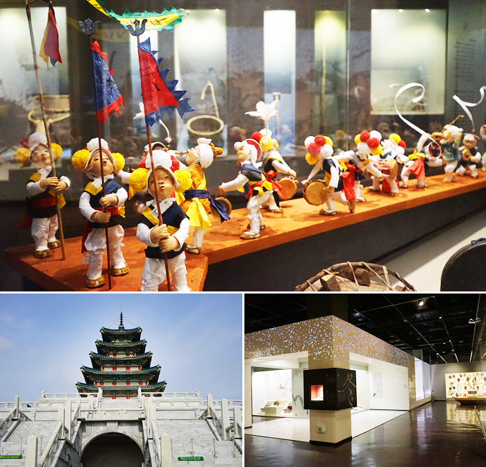 Miniature dolls displayed at the National Folk Museum of Korea give a glimpse into Korea's traditional farming lives (top) / Exterior of museum (bottom left) / Display in exhibition hall (bottom right)