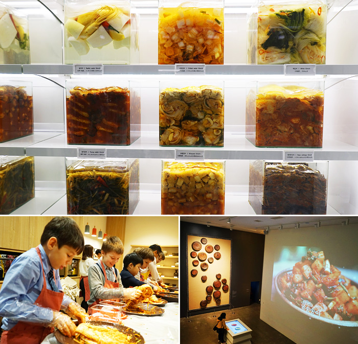 Display of pickled foods from around the world (top) / Kimchi-making program (bottom left) / Digital game to make kimchi (bottom right)