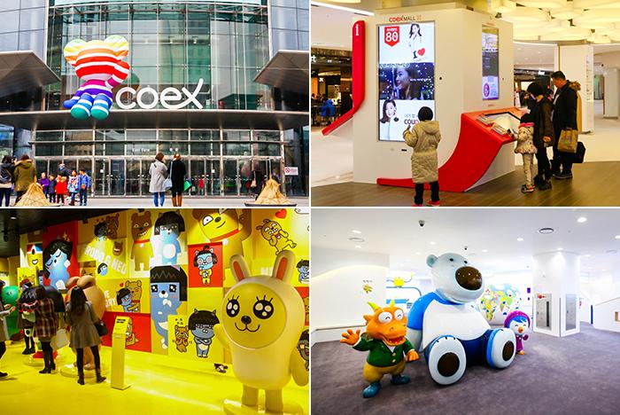 圖片) COEX MALL正門(左上圖) /COEX MALL內部(右上圖) / COEX Kakao Friends專賣店(左下圖) / Pororo樂園(右下圖)